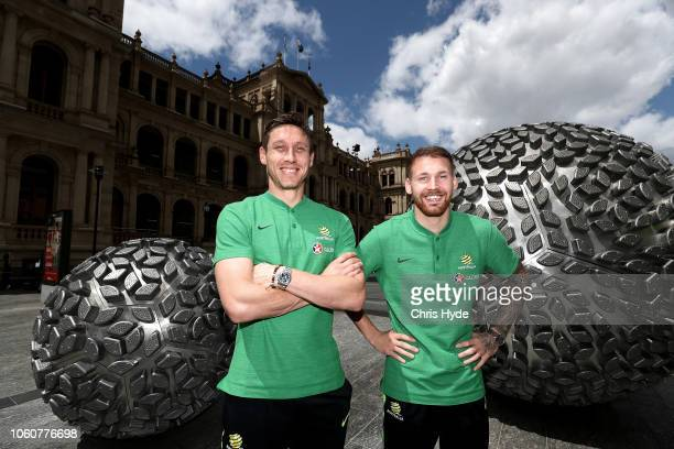 Mark Milligan and Martin Boyle pose during an Australian Socceroos media opportunity at Reddacliff Place on November 13 2018 in Brisbane Australia