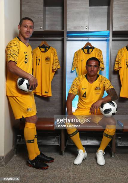 Mark Milligan and Tim Cahill of Australia pose during the Australian Socceroos Portrait Session at the Gloria Football Club on May 28 2018 in Antalya...