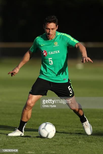 Mark Milligan during a Australian Socceroos training session at Lion FC Stadium on November 13 2018 in Brisbane Australia