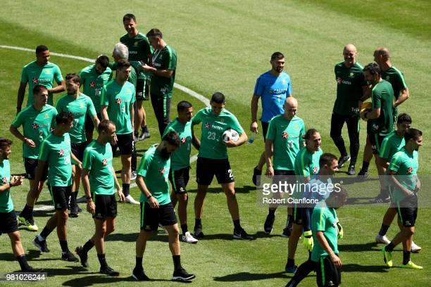 Mark Milligan of Australia arrives ahead of an Australian Socceroos press conference at Stadium Trudovye Rezervy on June 22 2018 in Kazan Russia