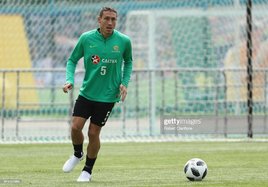 Mark Milligan of Australia controls the ball during an Australia Socceroos training session ahead of the FIFA World Cup 2018 at Stadium Trudovye Rezervy on June 14, 2018 in Kazan, Russia.