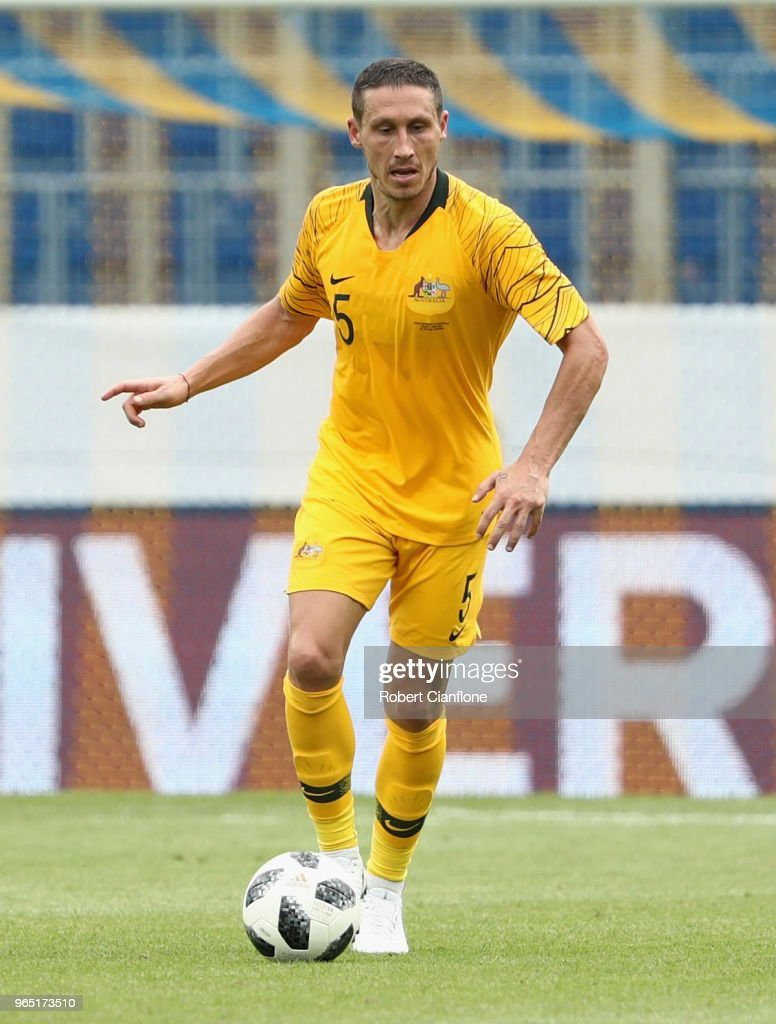 Mark Milligan of Australia controls the ball during the International Friendly match between the Czech Republic and Australia Socceroos at NV Arena on June 1, 2018 in Sankt Polten, Austria.