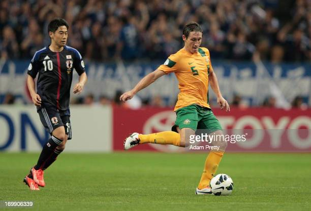 Mark Milligan of Australia in action during the FIFA World Cup qualifier match between Japan and Australia at Saitama Stadium on June 4 2013 in...