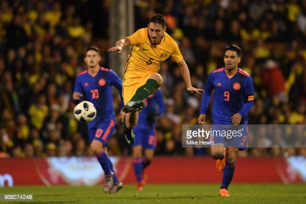 Mark Milligan of Australia in action during the International Friendly between Australia and Colombia at Craven Cottage on March 27 2018 in London...