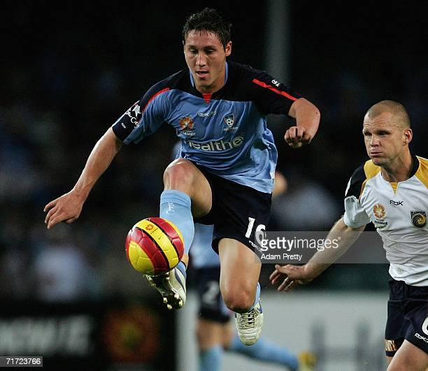 Mark Milligan of Sydney FC controls the ball during the round one ALeague match between Sydney FC and the Central Coast Mariners at Aussie Stadium...