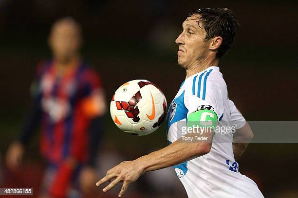 Mark Milligan of the Jets controls the ball during the round 26 ALeague match between the Newcastle Jets and Melbourne Victory at Hunter Stadium on...