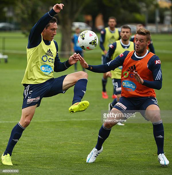 Mark Milligan of the Victory controls the ball during a Melbourne Victory ALeague training session at Gosch's Paddock on March 6 2015 in Melbourne...
