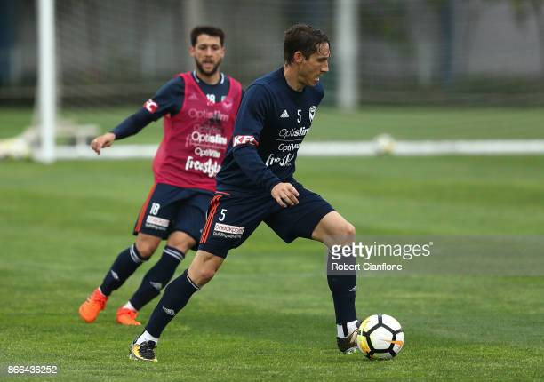 Mark Milligan of the Victory controls the ball during a Melbourne Victory ALeague training session at Gosch's Paddock on October 26 2017 in Melbourne...
