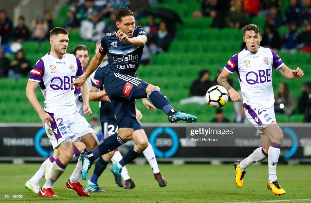 Mark Milligan of the Victory shoots and scores his sides second goal during the round 16 A-League match between the Melbourne Victory and Perth Glory at AAMI Park on January 13, 2018 in Melbourne, Australia.