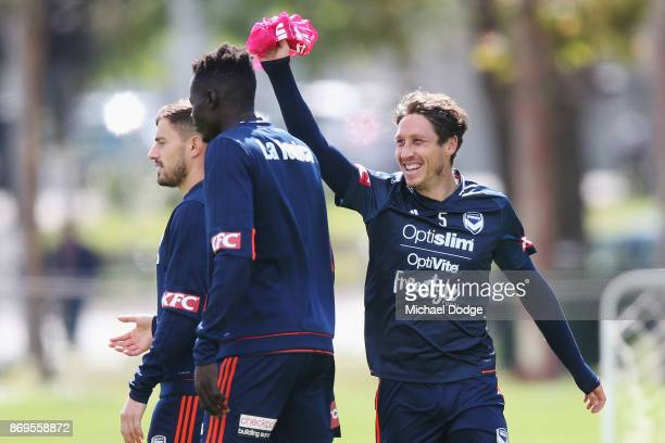 Mark Milligan reacts during a Melbourne Victory ALeague training session at Gosch's Paddock on November 3 2017 in Melbourne Australia