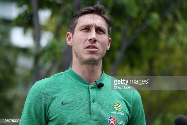 Mark Milligan speaks to media during an Australian Socceroos media opportunity at Reddacliff Place on November 13 2018 in Brisbane Australia