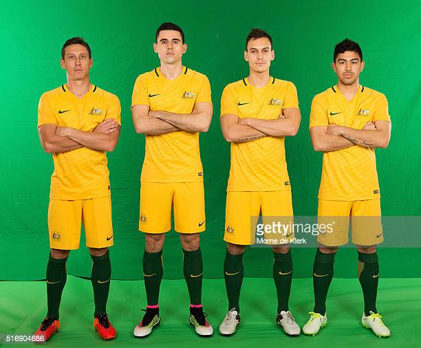 Mark Milligan Tom Rogic Trent Sainsbury and Massimo Luongo pose for a photograph during a FFA Sponsorship announcement at The Intercontinental...