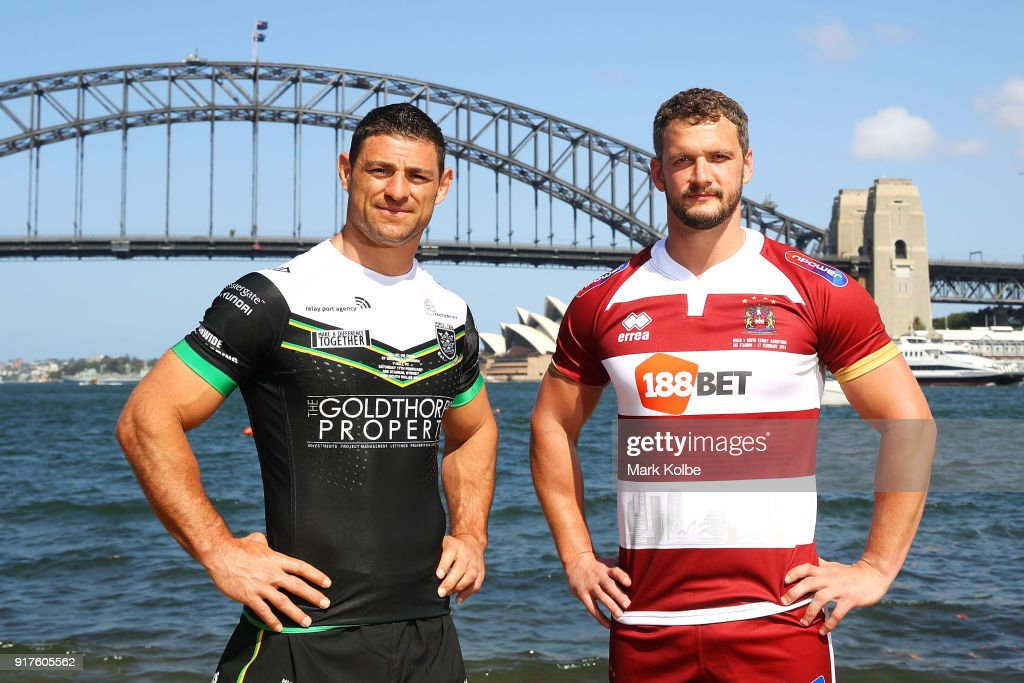 Mark Minichiello of Hull FC and Sean O'Loughlin of the Wigan Warriors pose during a rugby league international double header media opportunity at Blues Point Reserve on February 13, 2018 in Sydney, Australia.