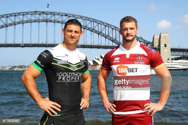 Mark Minichiello of Hull FC and Sean O'Loughlin of the Wigan Warriors pose during a rugby league international double header media opportunity at...