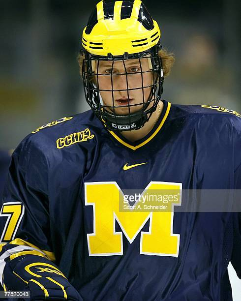Mark Mitera of the Michigan Wolverines skates in warmups before a game with the Minnesota Gophers on October 13 2007 at the Xcel Energy Center in St...