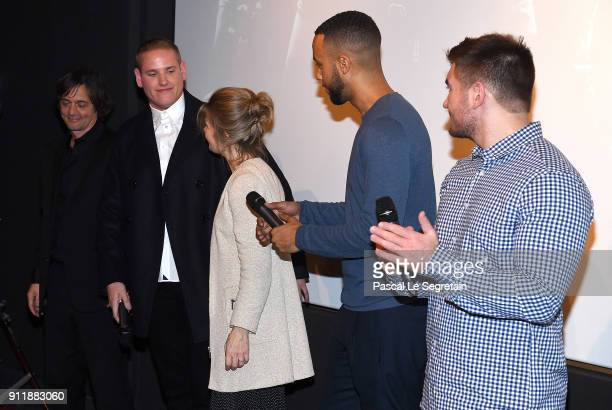 Mark Moogalian Spencer Stone Isabella Moogalian Anthony Sadler and Alek Skarlatos attend the film promotion of The 1517 to Paris on January 29 2018...