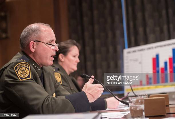Mark Morgan chief of the US Border Patrol and his deputy Carla Provost testify at a Senate Homeland Security and Governmental Affairs Committee...