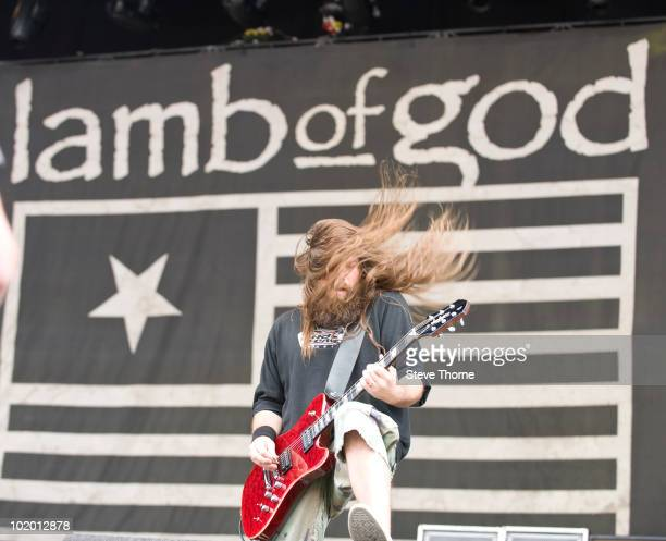 Mark Morton of Lamb Of God performs on stage on the second day of Download Festival at Donington Park on June 12 2010 in Castle Donington England