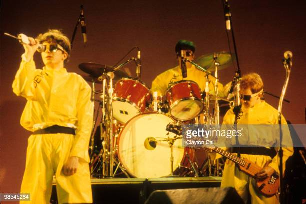 Mark Mothersbaugh Alan Meyers and Gerald Casale of Devo performing at the Warfield Theater in San Francisco on June 29 1979