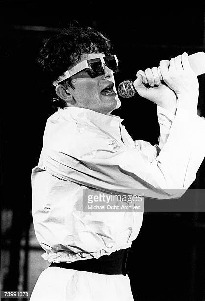 Mark Mothersbaugh of the new wave punk music group Devo performs onstage in circa 1979 in Los Angeles California