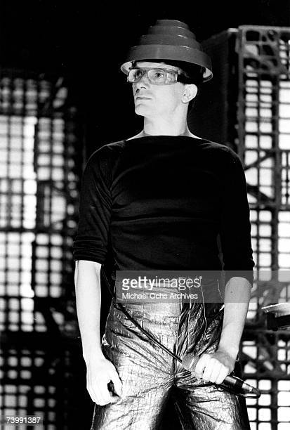 Mark Mothersbaugh of the new wave punk music group 'Devo' performs onstage in circa 1979 in Los Angeles California