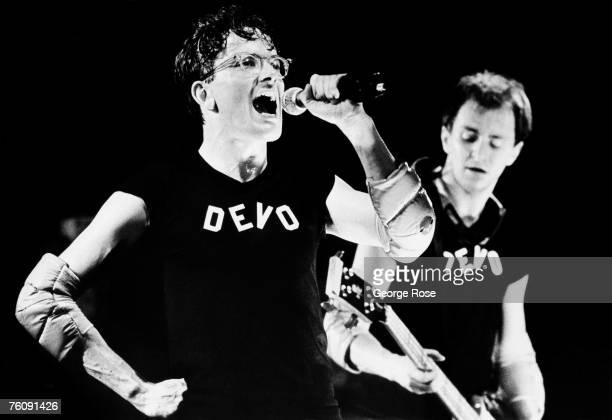 Mark Mothersbaugh of the new wave rock band Devo performs 'Whip It Good' from their 'Duty Now For the Future' album during a 1979 Hollywood...