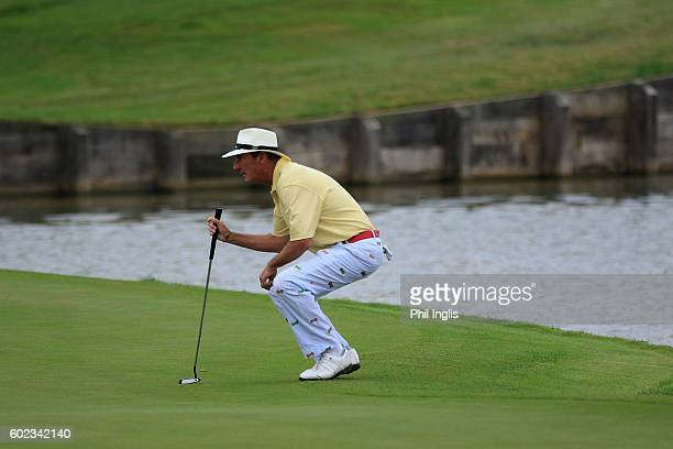 Mark Mouland of Wales in action during the final round of the Paris Legends Championship played on L'Albatros Course at Le Golf National on September...