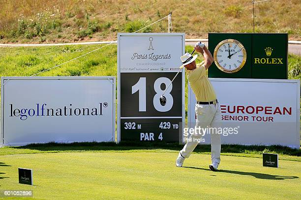 Mark Mouland of Wales in action during the first round of the Paris Legends Championship played on L'Albatros course at Le Golf National on September...