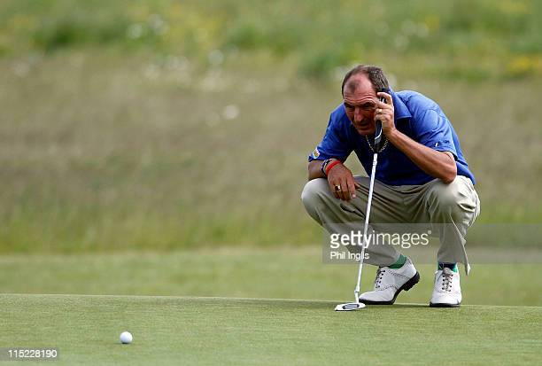 Mark Mouland of Wales in action during the second round of the Handa Senior Masters presented by the Stapleford Forum played at Stapleford Park on...