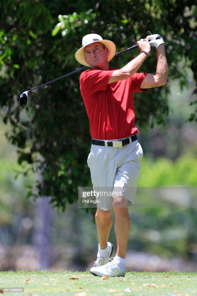 Mark Mouland of Wales plays from 10th tee during the ProAm ahead of the first round of the MCB Tour Championship played over the Legend Course at Constance Belle Mare Plage on December 7, 2017 in Port Louis, Mauritius.