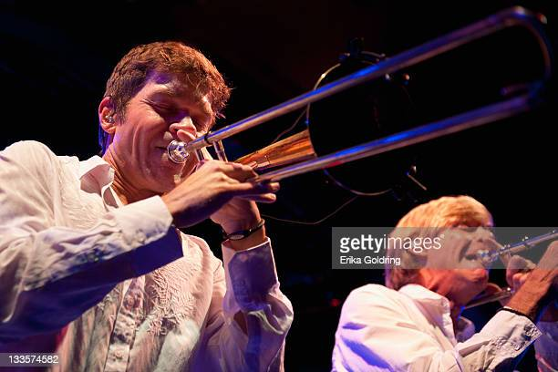 Mark Mullins and Craig Klein of New Orleans' brass funk rock band Bonerama perform at Tipitina's on November 19 2011 in New Orleans Louisiana