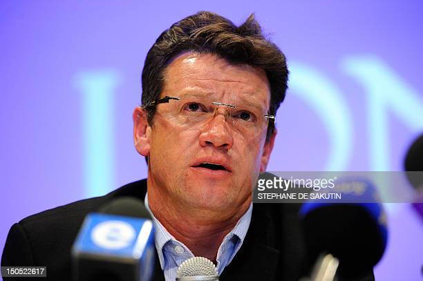 Mark Munroe executive vice president for mining at Lonmin the world's thirdlargest platinum mining company speaks during a press conference on August...