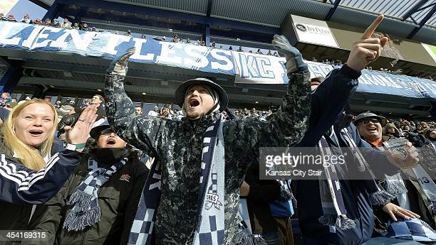 Mark Murdizk, from Kansas City heckles Real Salt Lake players warming up from the Cauldron section at Sporting Park in Kansas City, Kan., as Sporting...