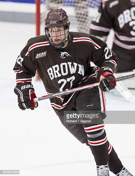 Mark Naclerio of the Brown University Bears skates up ice during NCAA hockey action at the Schneider Arena against the Providence College Friars on...