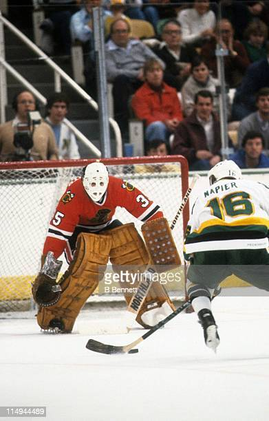 Mark Napier of the Minnesota North Stars skates with the puck on a breakaway against goalie Tony Esposito of the Chicago Blackhawks during an NHL...