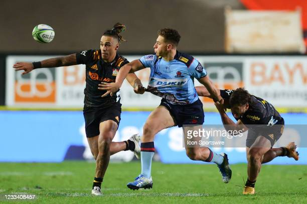 Mark Nawaqanitawase of the Waratahs passes the ball during the round five Super Rugby Trans Tasman match between the NSW Waratahs and Chiefs at...