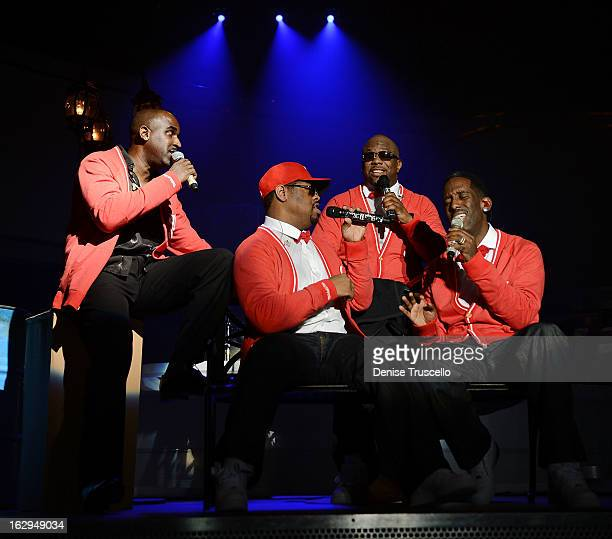 Mark Nelson performs with Nate Morris Wanya Morris and Shawn Stockman of Boyz II Men at The Mirage Hotel Casino on March 1 2013 in Las Vegas Nevada