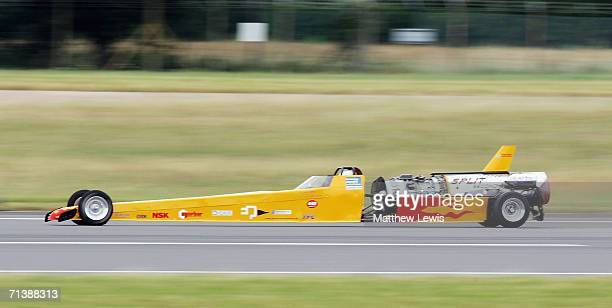 Mark Newby drives his jet car 'Split Second' in an attempt to break the British Landspeed Record of 300.3mph on the runway at RAF Fairford on July 7,...