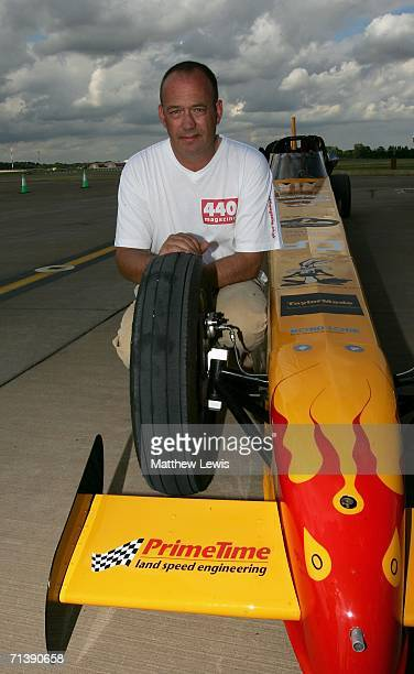 Mark Newby of Oxford poses with his afterburning jet car 'Split Second' which split a wheel in an attempt to break the British Landspeed Record of...