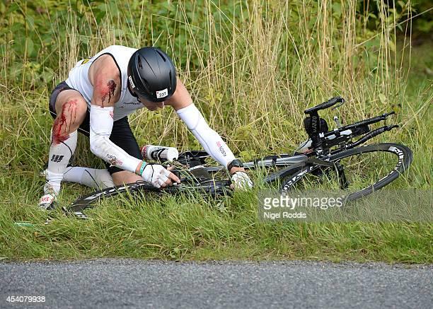 Mark Niels of Denmark during the bike section of Ironman Copenhagen on August 24 2014 in Copenhagen Denmark