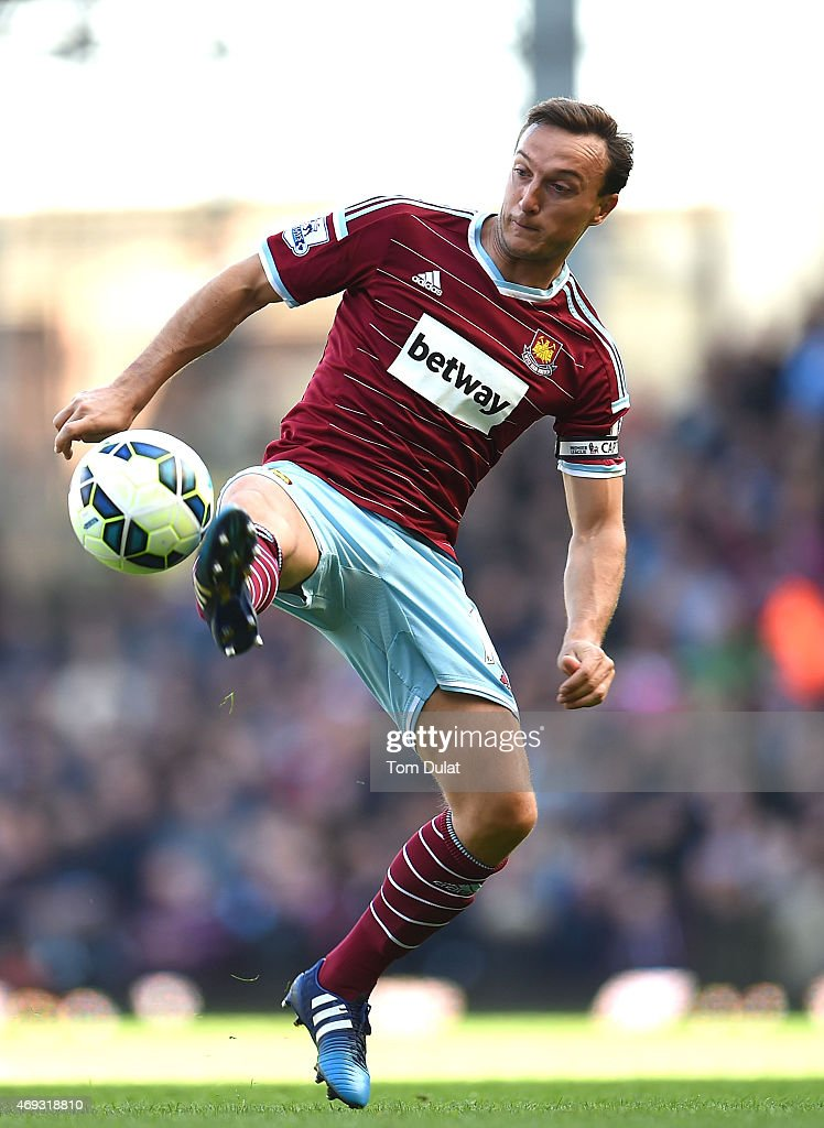 Mark Noble of West Ham in action during the Barclays Premier League match between West Ham United and Stoke City at Boleyn Ground on April 11, 2015 in London, England.