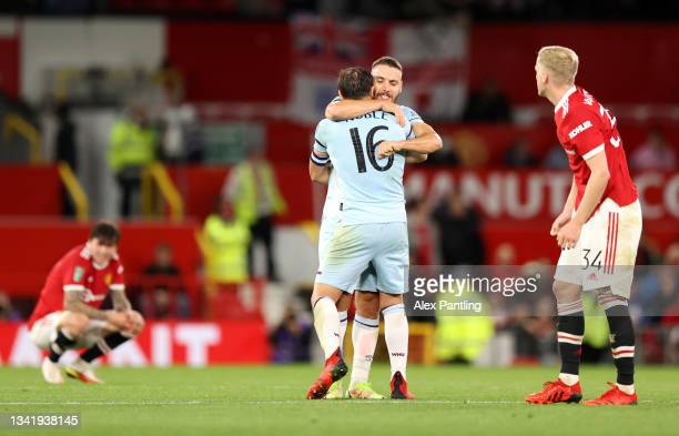 Mark Noble of West Ham United celebrates after his teams victory in the Carabao Cup Third Round match between Manchester United and West Ham United...