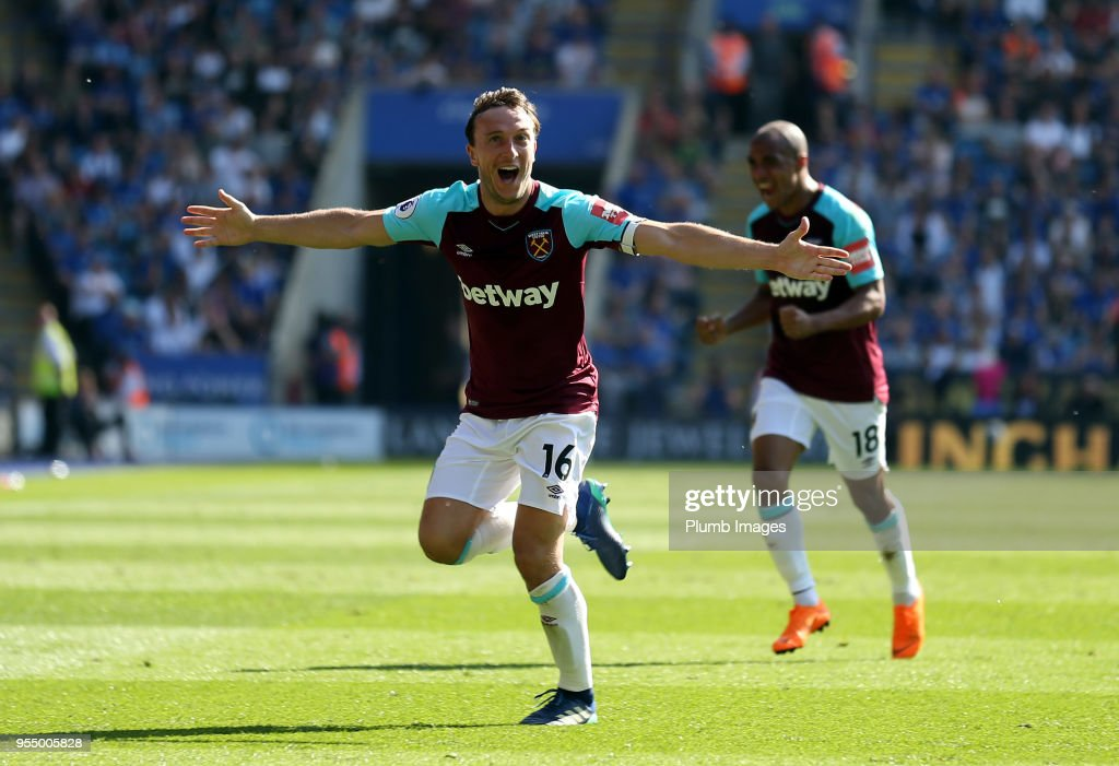 Mark Noble of West Ham United celebrates after scoring to make it 0-2 during the Premier League match between Leicester City and West Ham United at King Power Stadium on May 5, 2018 in Leicester, United Kingdom.