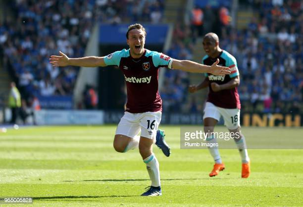 Mark Noble of West Ham United celebrates after scoring to make it 02 during the Premier League match between Leicester City and West Ham United at...