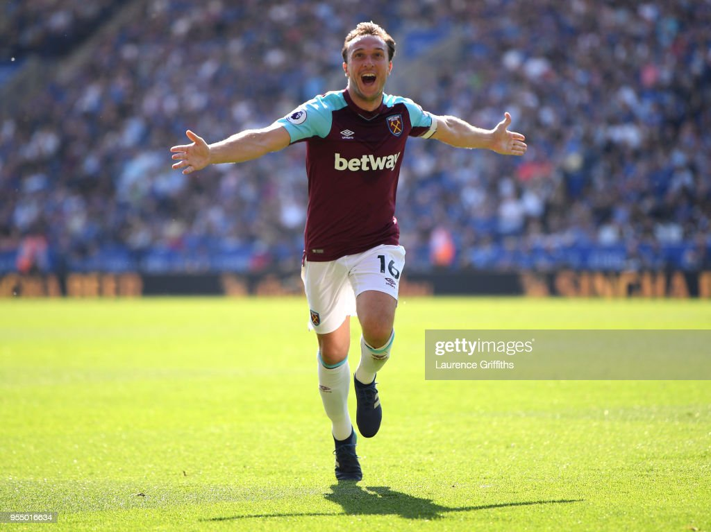 Mark Noble of West Ham United celebrates scoring his side's second goal during the Premier League match between Leicester City and West Ham United at The King Power Stadium on May 5, 2018 in Leicester, England.