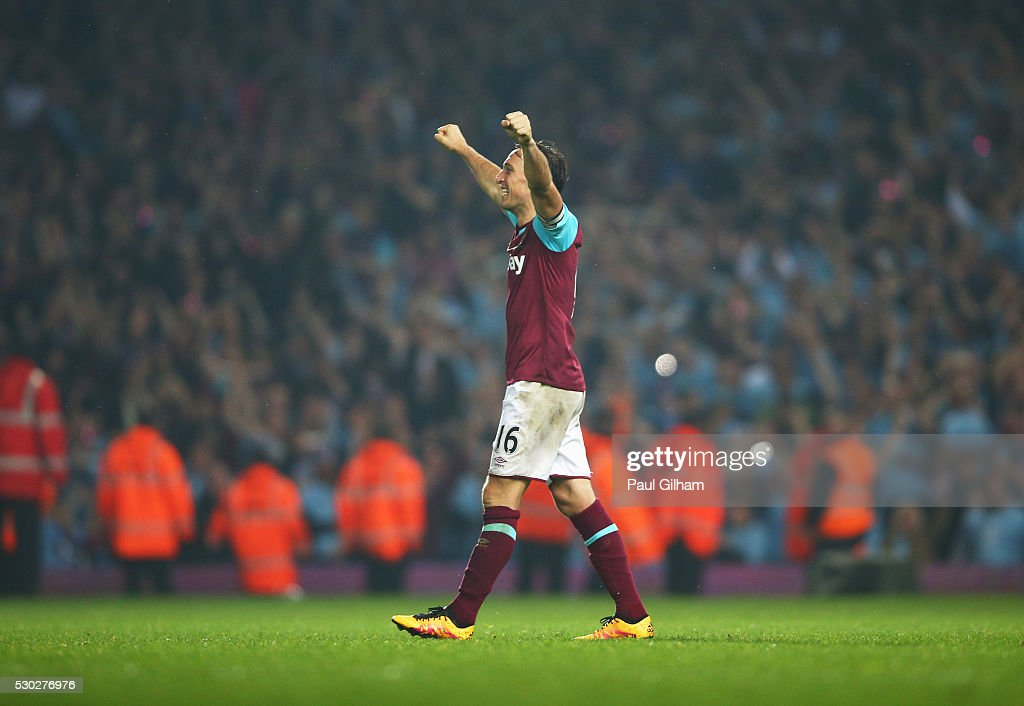 Mark Noble of West Ham United celebrates victory after the Barclays Premier League match between West Ham United and Manchester United at the Boleyn Ground on May 10, 2016 in London, England. West Ham United are playing their last ever home match at the Boleyn Ground after their 112 year stay at the stadium. The Hammers will move to the Olympic Stadium for the 2016-17 season.