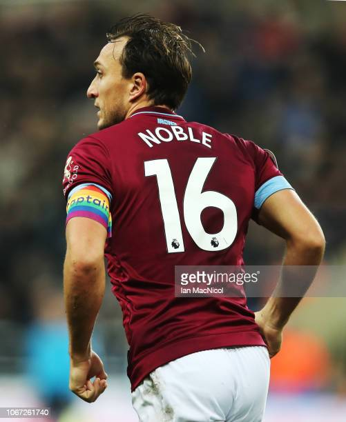 Mark Noble of West Ham United is seen wearing a Rainbow armband during the Premier League match between Newcastle United and West Ham United at St...