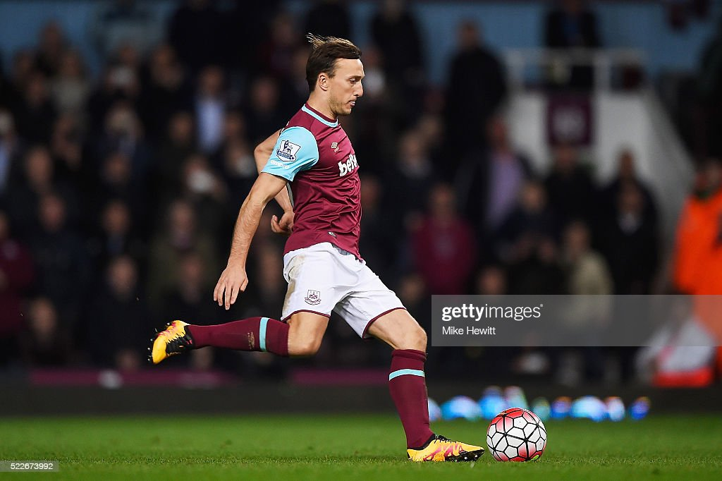 Mark Noble of West Ham United scores his second penalty during the Barclays Premier League match between West Ham United and Watford at the Boleyn Ground, April 20, 2016, London, England