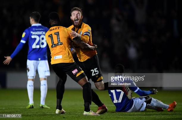 Mark O'Brien of Newport County celebrates scoring his sides first goal with Jamille Matt of Newport County during the Sky Bet League Two match...