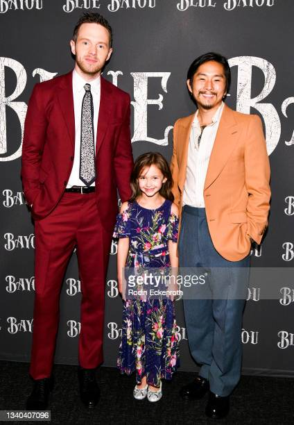 """Mark O'Brien, Sydney Kowalske, and Justin Chon attend the Los Angeles Premiere of Focus Features' """"Blue Bayou"""" at DGA Theater Complex on September..."""